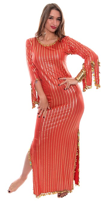 Egyptian Striped Beaded Saiidi Dress with Paillettes - RED / GOLD