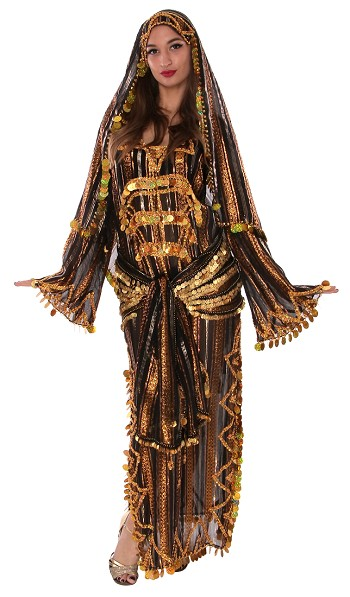 3-Piece Egyptian Lurex Sequin Beaded Saiidi Dress Set with Paillettes - BLACK / GOLD