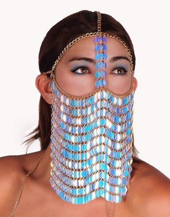 Sequin Chain Full Face Veil  - WHITE OPAL