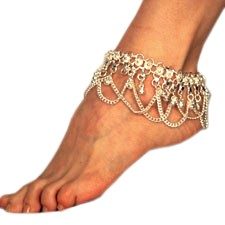 Chain Anklet with Bells & Loops - SILVER