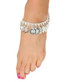 Classic Belly Dance Coin Anklet - SILVER