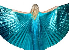 Closed Back Isis Wings Belly Dance Costume Prop - TURQUOISE