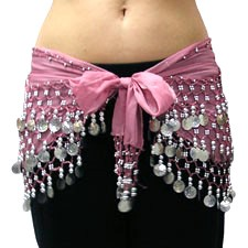 Chiffon Belly Dance Hip Scarf with Beads & Coins - VINTAGE PINK / SILVER