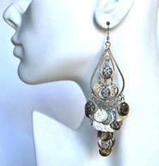 Coin Teardrop Dangle Belly Dance Earrings - SILVER