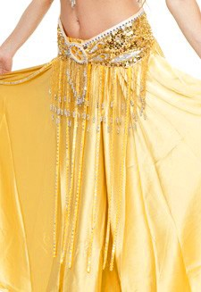 Beaded Satin Belly Dance Belt with Sequin Butterfly Design & Fringe - GOLD (size S/M)