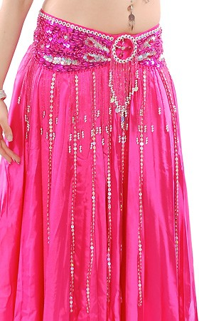 Beaded Satin Belly Dance Belt with Sequin Butterfly Design & Fringe - DARK PINK FUCHSIA