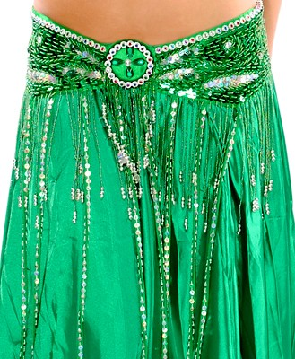 Beaded Satin Belly Dance Belt with Sequin Butterfly Design & Fringe - GREEN