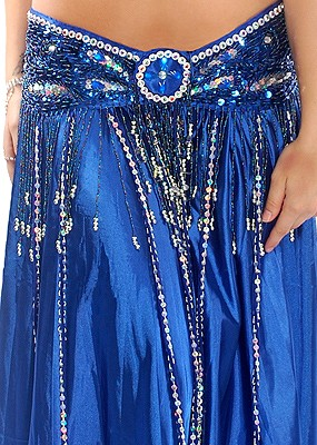 Beaded Satin Belly Dance Belt with Sequin Butterfly Design & Fringe - BLUE