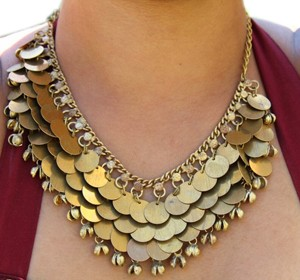 Belly Dance Necklace with Ghungroo Bells & Faux Coins  - GOLD