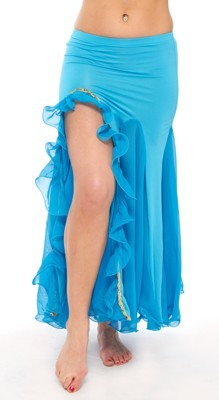 Egyptian Style Belly Dance Skirt with Ruffle Side Slit - BLUE TURQUOISE