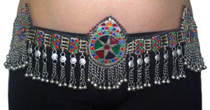 Colorful Afghani Tribal Kuchi Belt with Teardrop Medallions