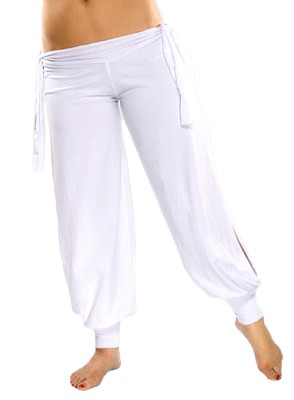 Comfortable Stretch Harem Pants with Side Ties & Slits - WHITE