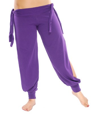 Comfortable Stretch Harem Pants with Side Ties & Slits - PURPLE