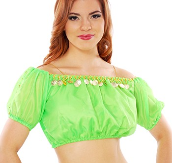 Chiffon Gypsy Belly Dancer Bollywood Half Top with Coins - LIME GREEN