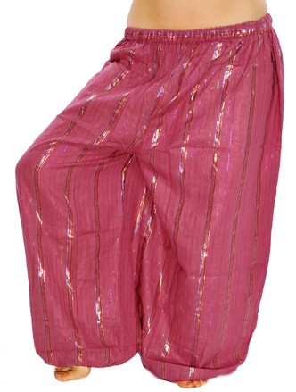 Cotton Tribal Harem Pants with Lurex Stripes - BERRY