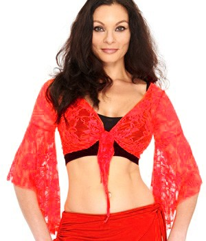 Lace Bell Sleeve Choli Belly Dance Top - RED