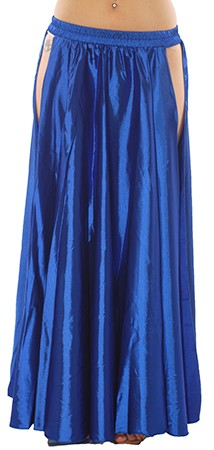 Satin Panel Circle Skirt for Belly Dancing - ROYAL BLUE