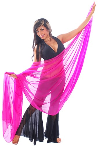 3-Yard Fine Chiffon Silky Lightweight Belly Dance Veil - DARK FUCHSIA