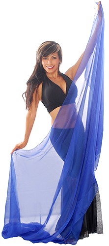 3-Yard Fine Chiffon Silky Lightweight Belly Dance Veil - ROYAL BLUE