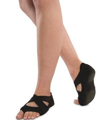 DANSHUZ Neoprene Cross Wrap Dance Shoes - BLACK