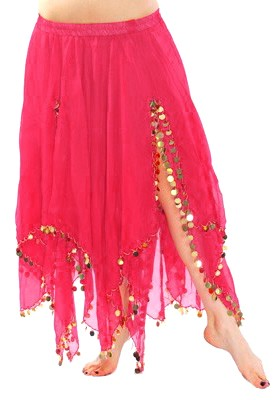 Chiffon Belly Dance Skirt with Paillettes - ROSE PINK