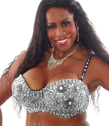 Plus Size Sequin Bra with Beaded Floral Design - SILVER 36J / 38F