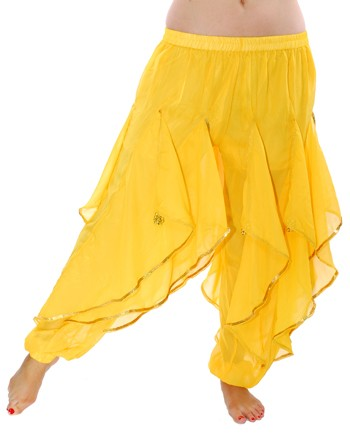 Endless Wave Bollywood Ruffle Belly Dance Harem Pants - YELLOW / GOLD