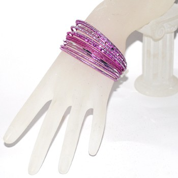Small Size Diamond Cut Glitter Bangle Set - PINK