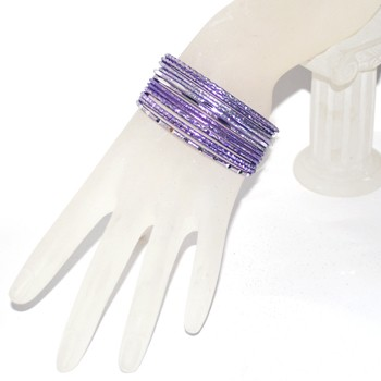 Small Size Diamond Cut Glitter Bangle Set - LILAC