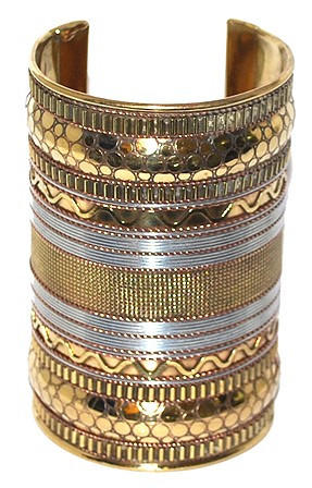 Large Embossed Tri-Color Tribal Cuff Bracelet